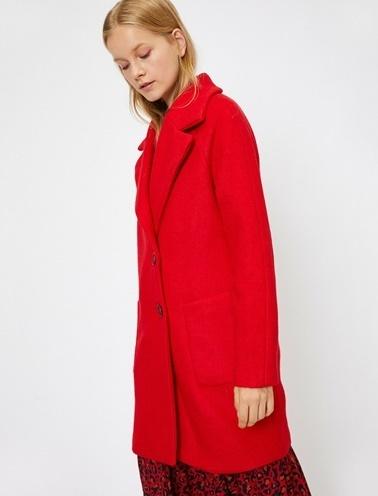 Koton Cep Detaylı Kaban Kırmızı